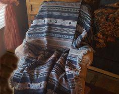 Classic Southwestern Zapoteca Designer Throw -Blue