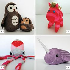"Sock Animals - Although I love the owls and octopus, the main thing going through my mind is ""Narwhals, Narwhals, swimming in the ocean, causing a commotion...because they are so AWESOME!"""