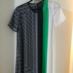 Mid length beautiful BCBG dress Gorgeous flowey BCBG summer dress, one of a kind pattern and gorgeous green accent. Brand new. BCBGMaxAzria Dresses Midi