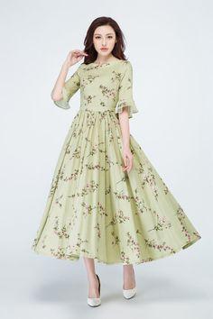 flower printed dress green linen dress garden dress pleated