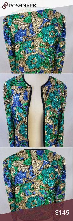 🎉HP🎉Vintage Sequin & Beaded Jacket Amazing Vintage find! Colorful Mardi Gras Vibe Jacket  Excellent condition Jackets & Coats