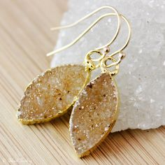 Honey Druzy Leaf Earrings  Geode Earrings  14K GF by OhKuol, $49.00 #honey #druzy #jewelry #earrings #leafjewelry
