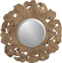 Root Wall Mirror_Crate and Barrel Round Wall Mirror, Beveled Mirror, Wall Mirrors, Mirror Inspiration, Home Decor Inspiration, Mirror Over Fireplace, Driftwood Mirror, Room Planning, Brick Wall
