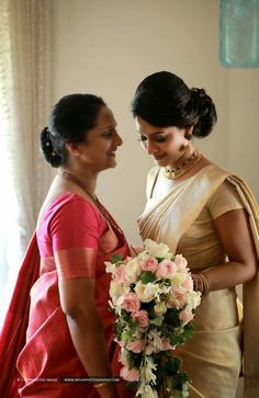 939a47f4eae Kerala Christian wedding pic must have pose with your mom Kerala Wedding  Saree