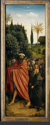 "Ghent Altar, Hubert and Jan van Eyck's ""Mystic Lamb,"" Pilgrims panel.  completed in 1432"