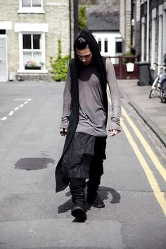 Rick Owens. Grunge/WabiSabi inspired. Encapsulates London East-end cool