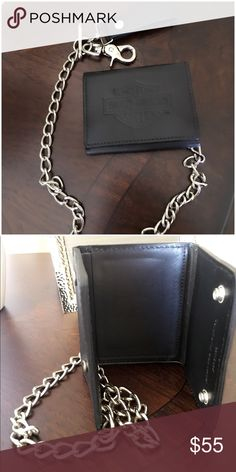 Harley Davidson Trifold Biker Wallet This Harley-Davidson wallet is made from genuine leather and can be used with or without a biker chain. Genuine leather biker wallet   Credit card slots, ID window and cash compartment   Detachable heavy-duty metal chain   Biker chain has a snap leather leash   Embossed logo on front   Excellent new condition   Used once Harley-Davidson Accessories Key & Card Holders