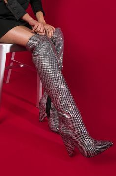 AKIRA Knee High Cone Heel Pointed Toe Zip Up Rhinestone Sparkly Boots in Black