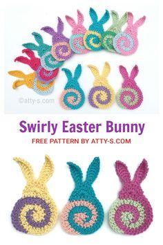 Easter Bunny Applique Free Crochet Patterns - DIY Magazine Easter Crochet Patterns, Crochet Bunny, Crochet Flowers, Free Crochet, Drops Design, Hello Spring, Easter Crafts, Easter Bunny, Free Pattern