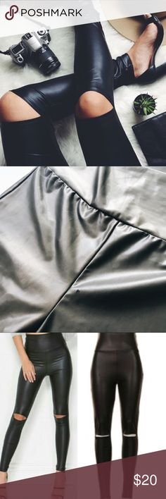 Fashionomics high waisted leggings. Cutout knee faux leather leggings. 92% polyester and 8% spandex. This item is very fitted at the waist. I have one MEDIUM left! The medium fits like a 0-2. Worn once. It has a tiny snag on upper left side of leggings, see photo #2. ❌NO TRADES❌✨BUNDLE + SAVE✨ Fashionomics Pants Leggings