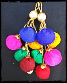 Fancy large colorful tassel / latkan. Perfect to redesign your for your lengha or saree blouse.