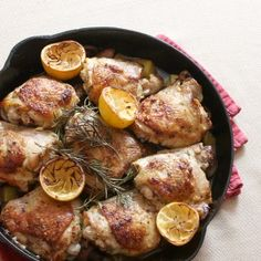 Crispy chicken cooked in a cast iron skillet and served with potatoes and mushrooms.