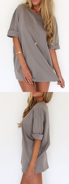 Gray Half Sleeve Tee Dress-top Choies