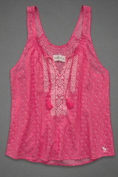 BETH TOP (Pink)  Cropped length, pretty floral pattern with pretty embroidered detailing, moose embroidery near hem, Easy Fit, Imported