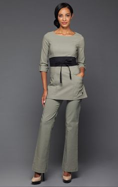 Massage tunics and salons on pinterest for Spa uniform canada