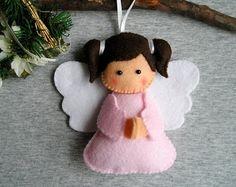 Felt ornament Christmas Angel home decor felt christmas ornaments embroidery handmade white pink ornament with loop