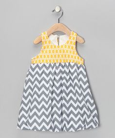 Take a look at this Yellow & Gray Zigzag Bubble Dress - Infant, Toddler & Girls by Bellinni by Bebe Bella Designs on #zulily today!
