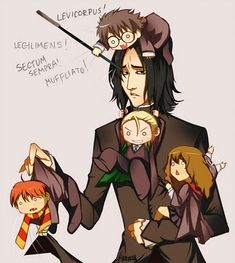 Harry Potter Cast Anime  Severus Snape  Harry Potter  Hermione Granger  Ron Weasley  Draco Malfoy