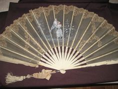 antiker Fächer Handfächer Frankreich antique Fan Ventaglio Eventail