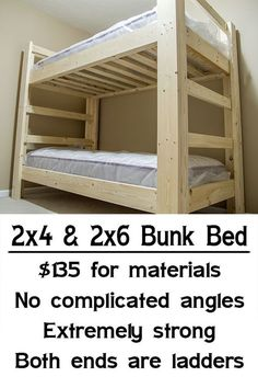 "Build a bunk bedSimple, strong, cheap bunk bed.Learn more about ""Bunk Bed with Stair Plans"". Check out our web .Learn more about ""Bunk Bed with Stair Plans"". Visit our website. Adult Bunk Beds, Kids Bunk Beds, Loft Beds, Kids Beds Diy, Bunk Beds For Adults, Murphy Bunk Beds, Cheap Bunk Beds, Bunk Bed Plans, Diy Bett"