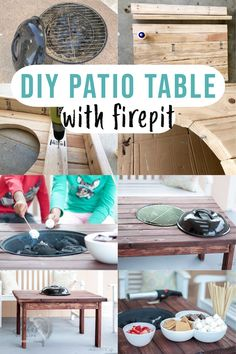 Build this DIY patio table with fire pit for summer backyard parties! This grill table is a quick beginner project and uses a simple Weber grill together with an easy DIY outdoor table. #outdoorfurniture #grilltable #AnikasDIYLife Scrap Wood Projects, Woodworking Projects That Sell, Diy Projects, Grill Table, Patio Table, Wood Projects For Beginners, Wood Working For Beginners, Diy Outdoor Table, Diy Patio