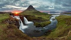 Iceland Landscape spring panorama at sunset - Kirkjufell via Shutterstock*