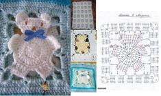 Baby dress crochet tutorial granny squares Ideas for 2019 Crochet Bunny, Crochet Home, Cute Crochet, Crochet Blocks, Crochet Chart, Crochet Patterns, Baby Girl Shower Themes, Manta Crochet, Baby Blanket Crochet