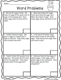 multi step word problems grade   google search   math  pinte  math printables for second grade easter word problemsfreeoa  solve word problems involving addition and subtraction