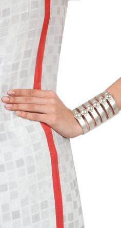 Silver plated stripes cuff available only at Pernia's Pop-Up Shop.