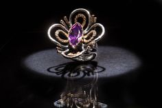 Ring from the Trend Focus collection by Marco Cruz Joalheiro. Silver and gold, amethyst and diamonds. Soft Colors, Jewelry Collection, Heart Ring, Amethyst, Diamonds, Brooch, Jewellery, Rings, Silver