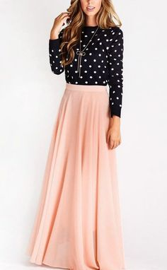 Be pretty in pink with this lovely pink chiffon maxi skirt.