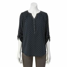 Croft and Barrow Printed Button-Tab Henley