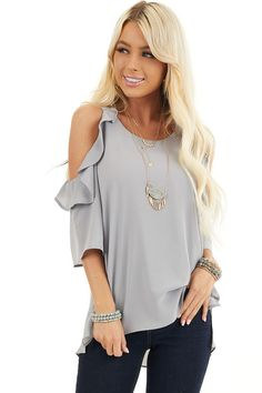 Dove Grey Cold Shoulder Blouse with Ruffle Details front close up Cold Shoulder Top Outfit, Shoulder Tops, Stitch Fix Outfits, Cute Boutiques, Fashion Outfits, Womens Fashion, Fashion Forward, What To Wear, Life Crisis