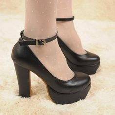 Womens Ankle Strap Round Toe High Heels Platform Classic #Pumps #Shoes #Black