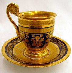 Rare Antique Paris Cobalt Blue Gilt Porcelain Cup & Saucer.   Sold