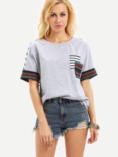 Shop Multicolor Short Sleeve Stripe Back Pocket T-shirt online. SheIn offers Multicolor Short Sleeve Stripe Back Pocket T-shirt & more to fit your fashionable needs. Arrow T Shirt, Fitness Wear Women, Casual Tops For Women, Casual T Shirts, Striped Tee, Shirt Style, T Shirts For Women, Womens Fashion, Clothes