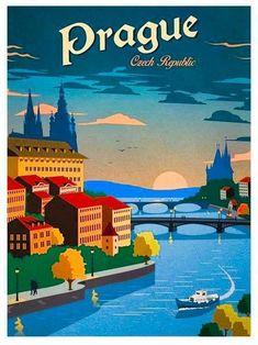 Image of Vintage Prague Poster Japon Illustration, Travel Illustration, Art Deco Posters, Poster Prints, Poster Poster, Kunst Poster, Vintage Travel Posters, Beach Trip, Beach Travel