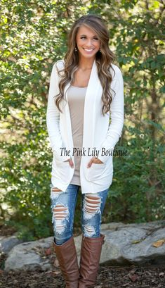 The Pink Lily Boutique - Solid Reputation Cardigan White , $34.00 (http://thepinklilyboutique.com/solid-reputation-cardigan-white/)