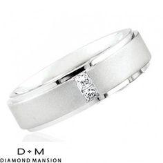 .26ct Princess Cut Diamond Wedding Ring for Men & Women-14k White Gold