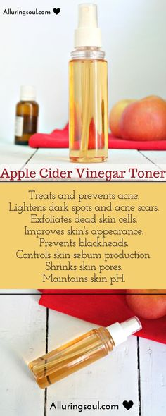Natural & DIY Skin Care : Apple cider vinegar toner is the solution for your every skin problems. It treats acne, clear clogged pores, prevents blackheads, exfoliates dead skin cells and improves skin texture. -Read More – Apple Cider Vinegar Toner, Apple Cider Vinegar Benefits, Lighten Dark Spots, Beauty Hacks For Teens, Skin Care Routine For 20s, Skincare Routine, Piel Natural, How To Treat Acne, Tips Belleza