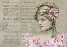Vintage, Actrice, Collage, Vieux, Antique, Dame, Fleur