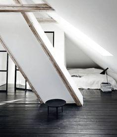 black floor boards low bed