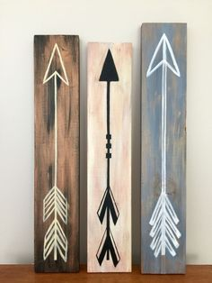 Hand painted arrows on old scrap wood!!! #rustichomedecor
