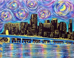 3/9  Pick your Starry Night Skyline. From London to Seattle, paint the skyline of your choice with the beautiful skies of Van Gogh.