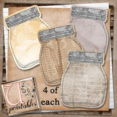 FREE Printable - Vintage Mason Jar Journal tags for Smash books or Scrapping U printables by RebeccaB: