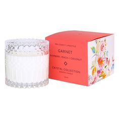 Mrs. Darcy | Crystal Candle Collection - Garnet: Raspberry, Peach + Coconut Crystal Collection, Scented Candles, Garnet, Raspberry, Wax, Coconut, Peach, The Incredibles, Crystals