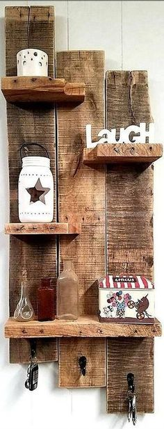 Rustic wall shelf reclaimed wood wall shelf entryway shelf