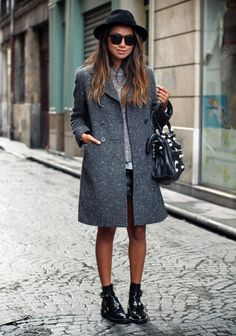 cute edgy booties + oversized coat