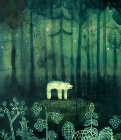 Hisanori Yoshida   Bear in the forest. I love the blending of different shades of green, it has created a very lush magical look.
