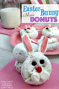 Easter Bunny Mini Donuts! Fun Easter Bunny Breakfast Recipe for a fun treat for kids!